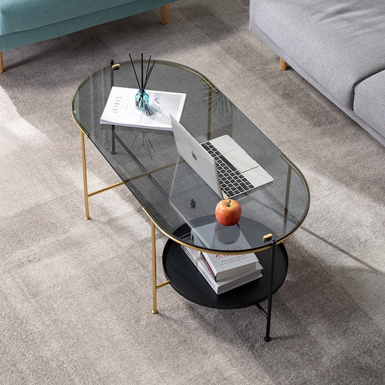 Nordic Coffee Table Oval Shape Tempered Glass With Metal Support