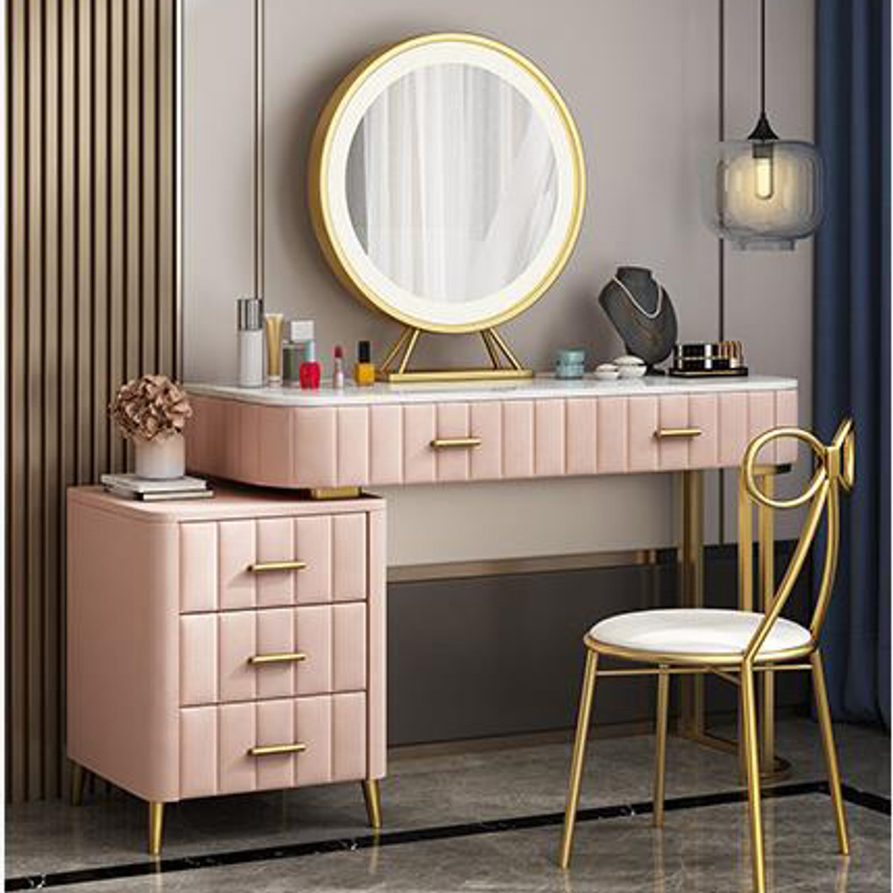 Nordic Dressing Table With Led Mirror Cabinet And Chair Bedroom