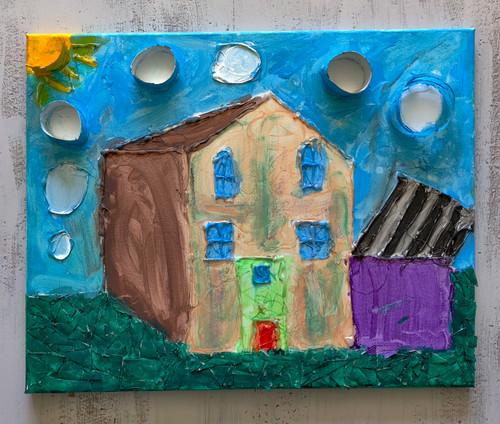 Beautiful House was created using acrylic paint, glue gun artwork, and repurposed cardboard, recycled from household items.   16 x 20 canvas board