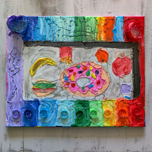 """Deliciousness was created using acrylic paint, glue gun artwork, and repurposed plastic pieces and lids recycled from water bottles.     16"""" x 20"""" canvas board"""
