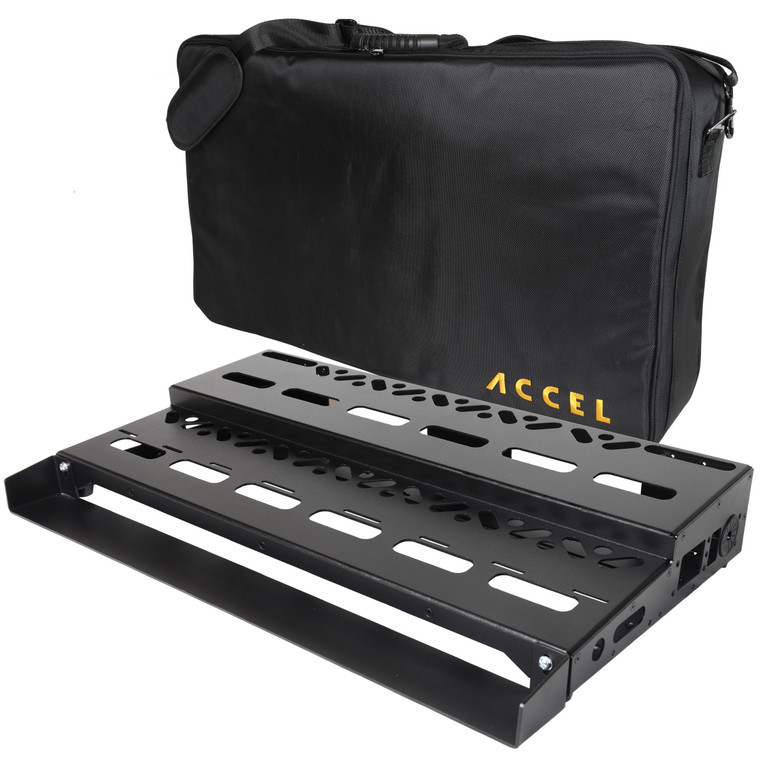 """Accel XTA25 pedalboard with 2.75"""" deep loop switcher extension"""
