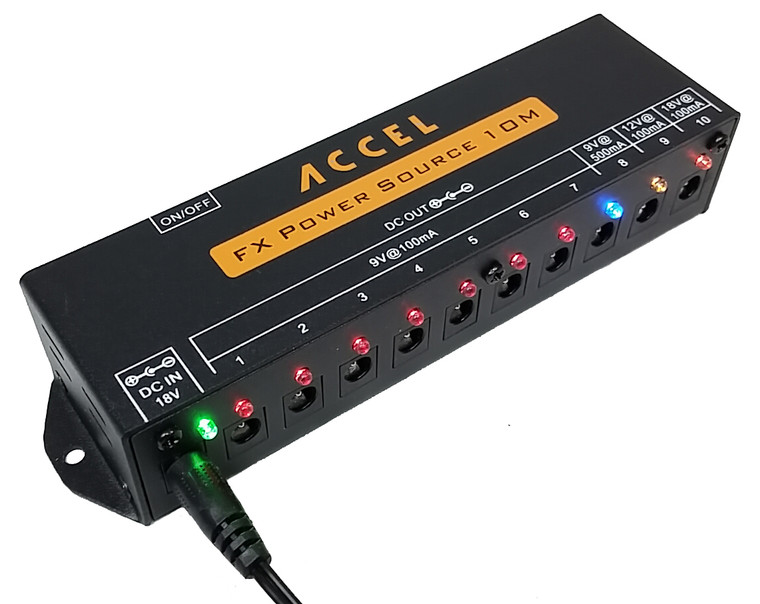 Accel FX Power Source 10M power supply. 10 output power supply for guitar effects pedals.