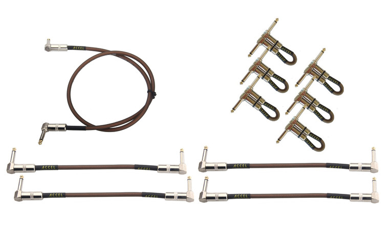 """Accel XTA21 pedal board professional guitar effects instrument patch cables. Plug ends: right angle / right angle.  Quantity per package (6) 6"""" R/R,  (4) 10"""" R/R, (1) 36"""" R/R."""