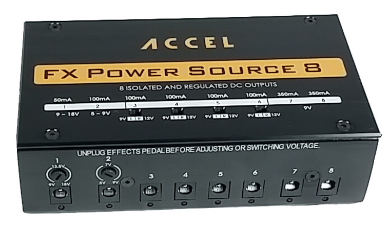 Accel FX Power Source 8 power supply (isolated outputs) for guitar effects and loop switchers.