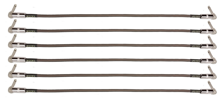 27 inch professional guitar effects instrument patch cables. Plug ends: right angle / right angle.  Quantity: 6 per package.