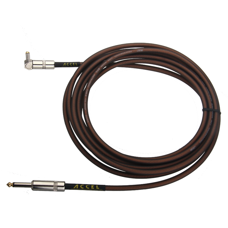 Accel 15 foot professional guitar instrument cable. Plug ends: straight / right angle.  Quantity: 1 per package.