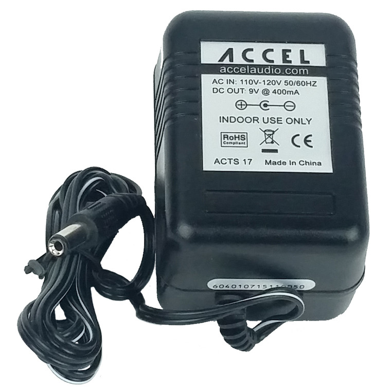 Accel: Single output power adapter, 9V @ 400mA, Negative Center Barrel for guitar effects pedals.