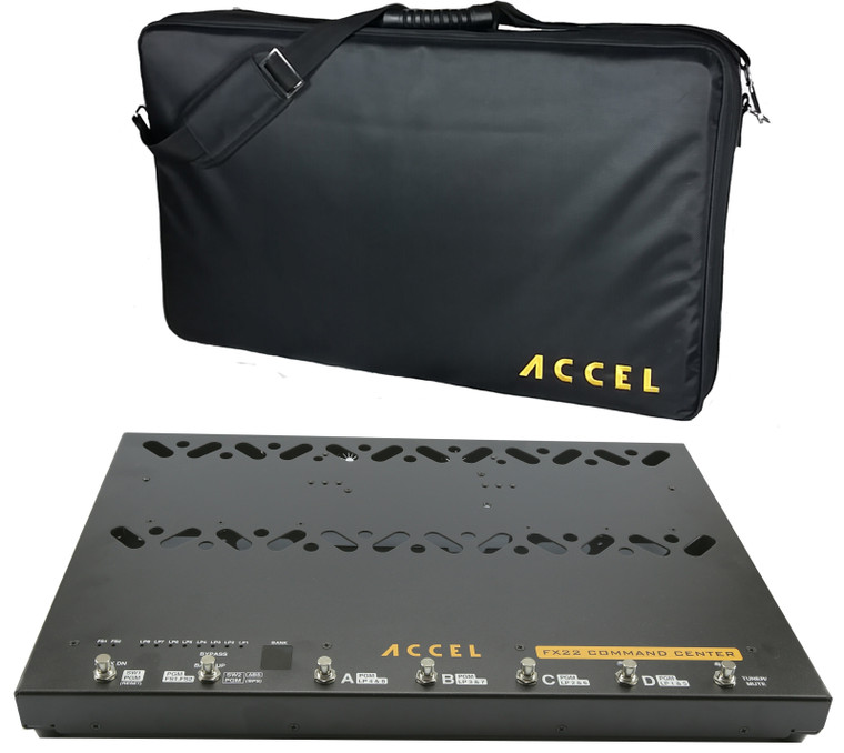 Accel FX22 Command Center pedal board with built in loop switcher and case.