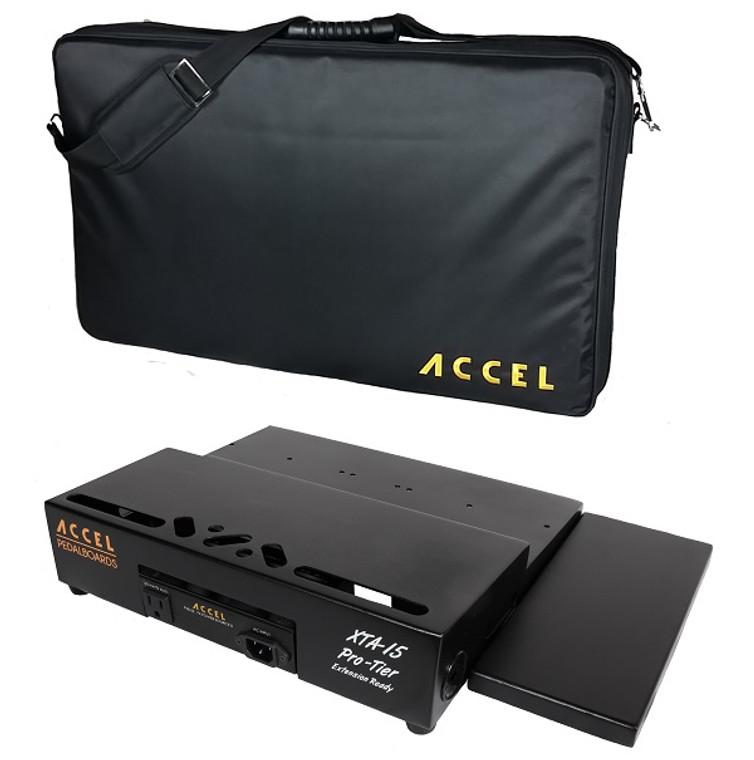 Accel XTA15 Pro Tier Pedal Board, 1 Extensions & Tote Color: Black