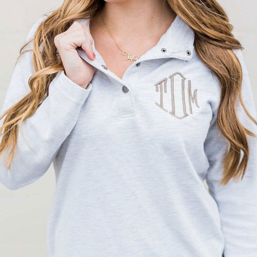 southern style monogram on a grey shirt