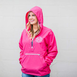 Monogrammed Pullover Rain Jacket - Hot Pink