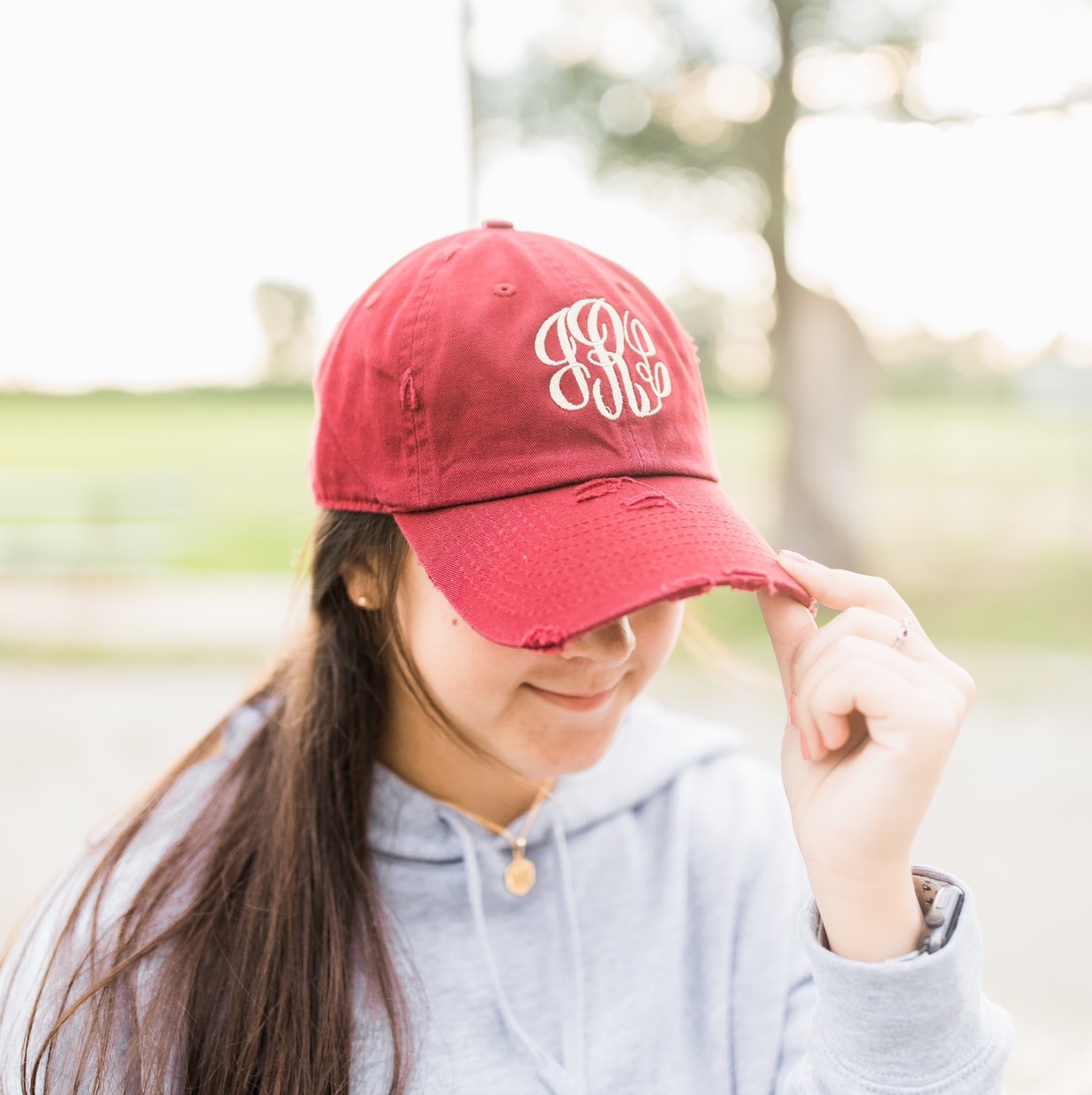 Distressed Baseball Hat - Burgundy