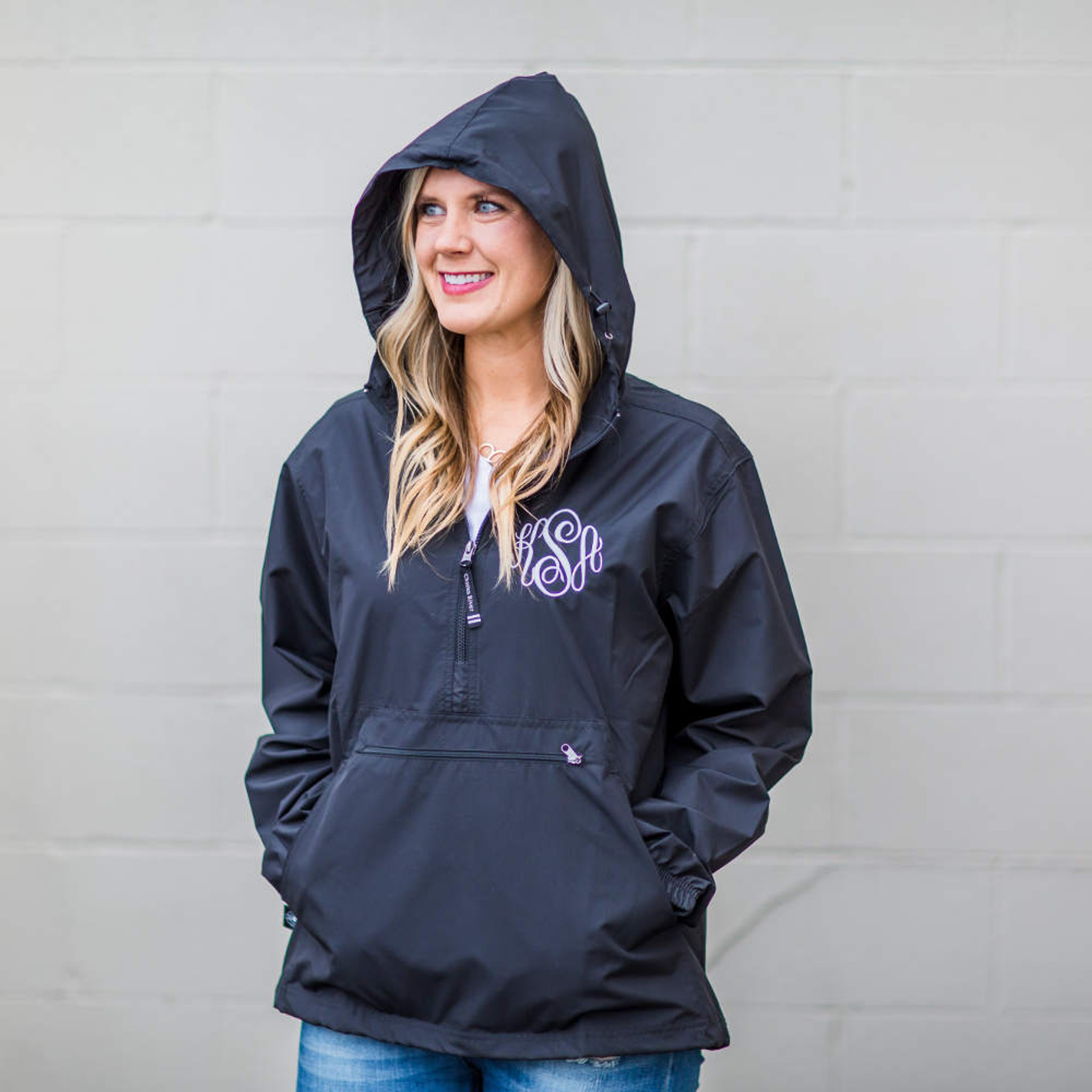 Monogrammed Pullover Rainjacket - Black