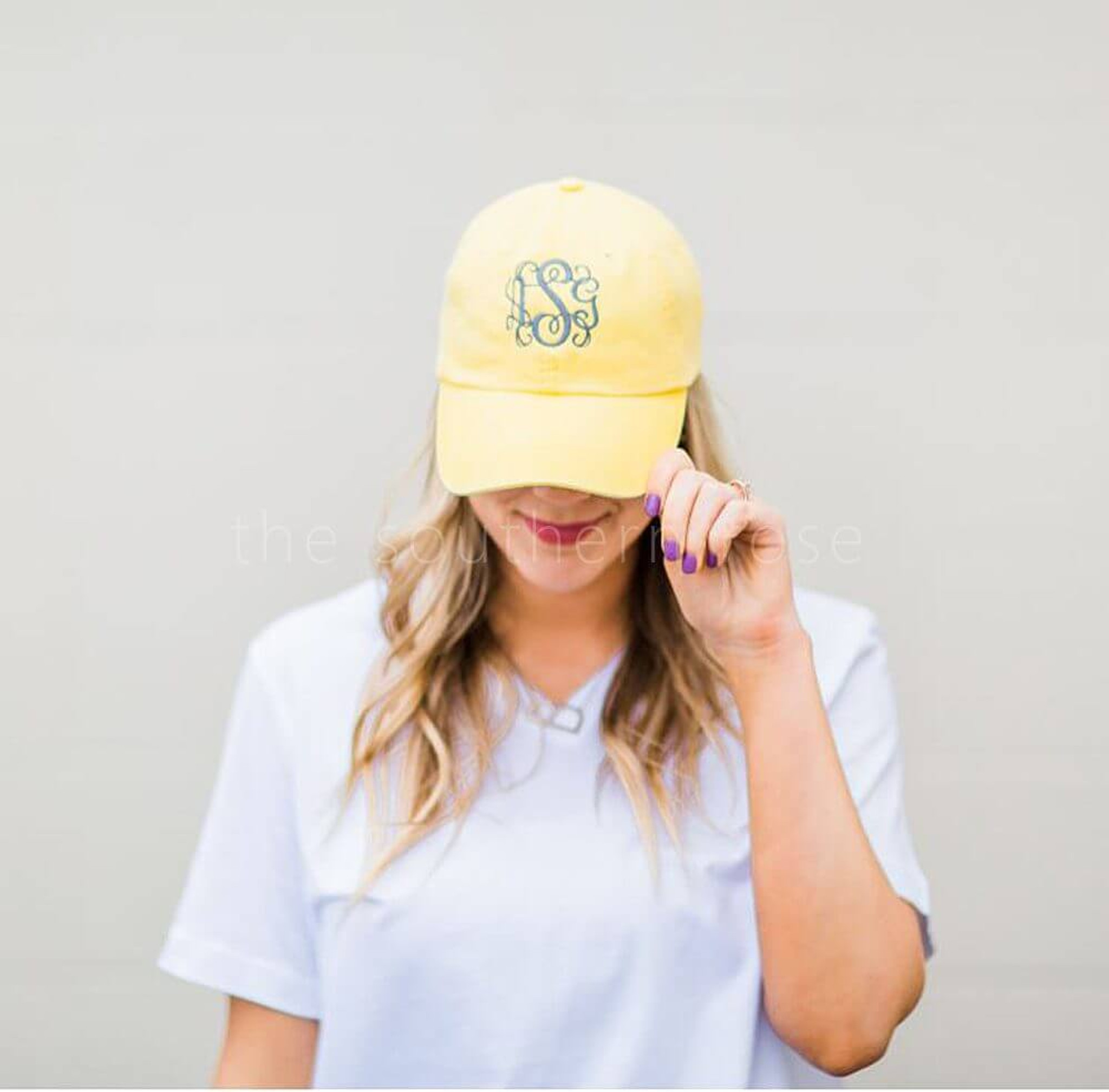 Monogrammed Baseball Hat - Lemon Yellow