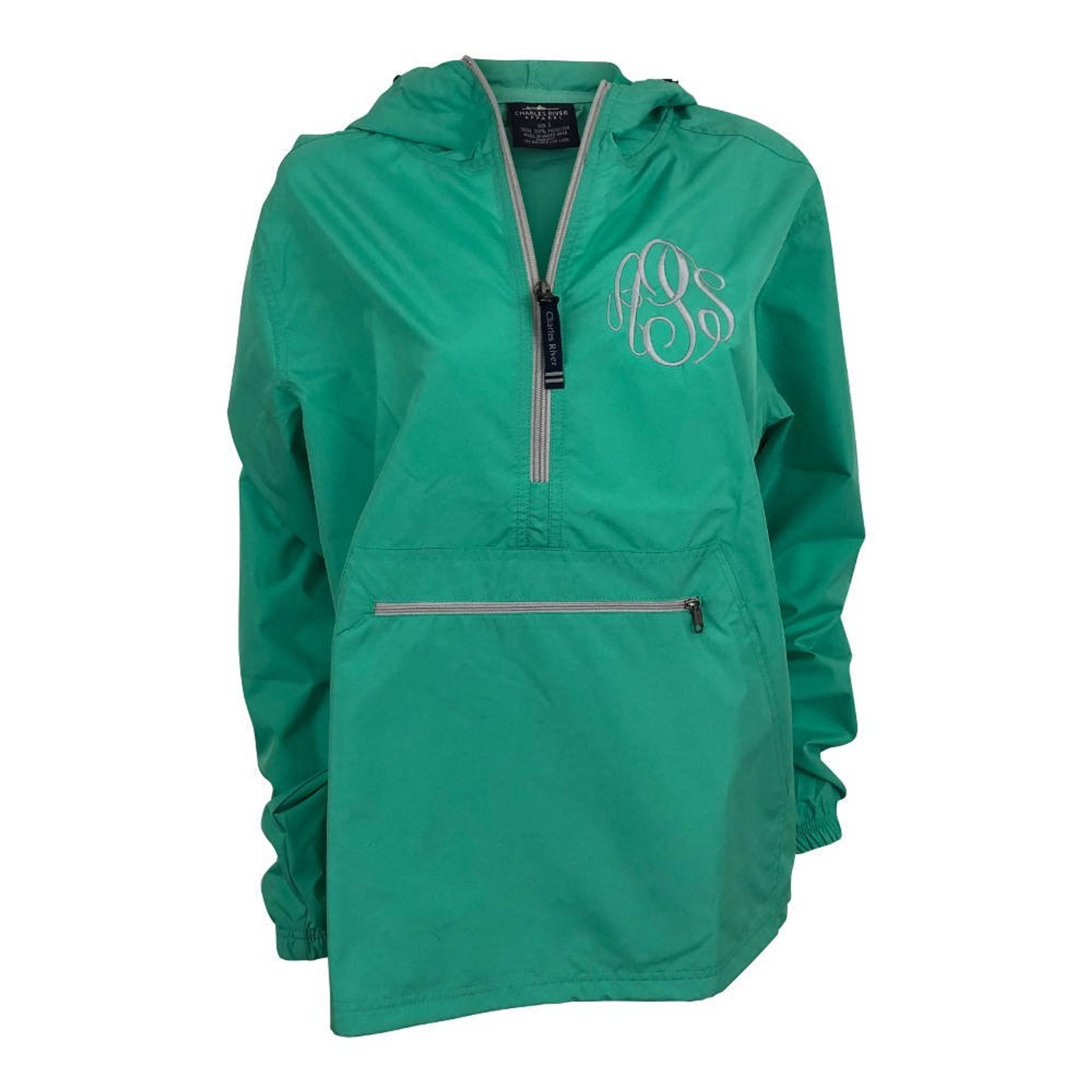 Monogrammed Pullover Rain Jacket - Mint