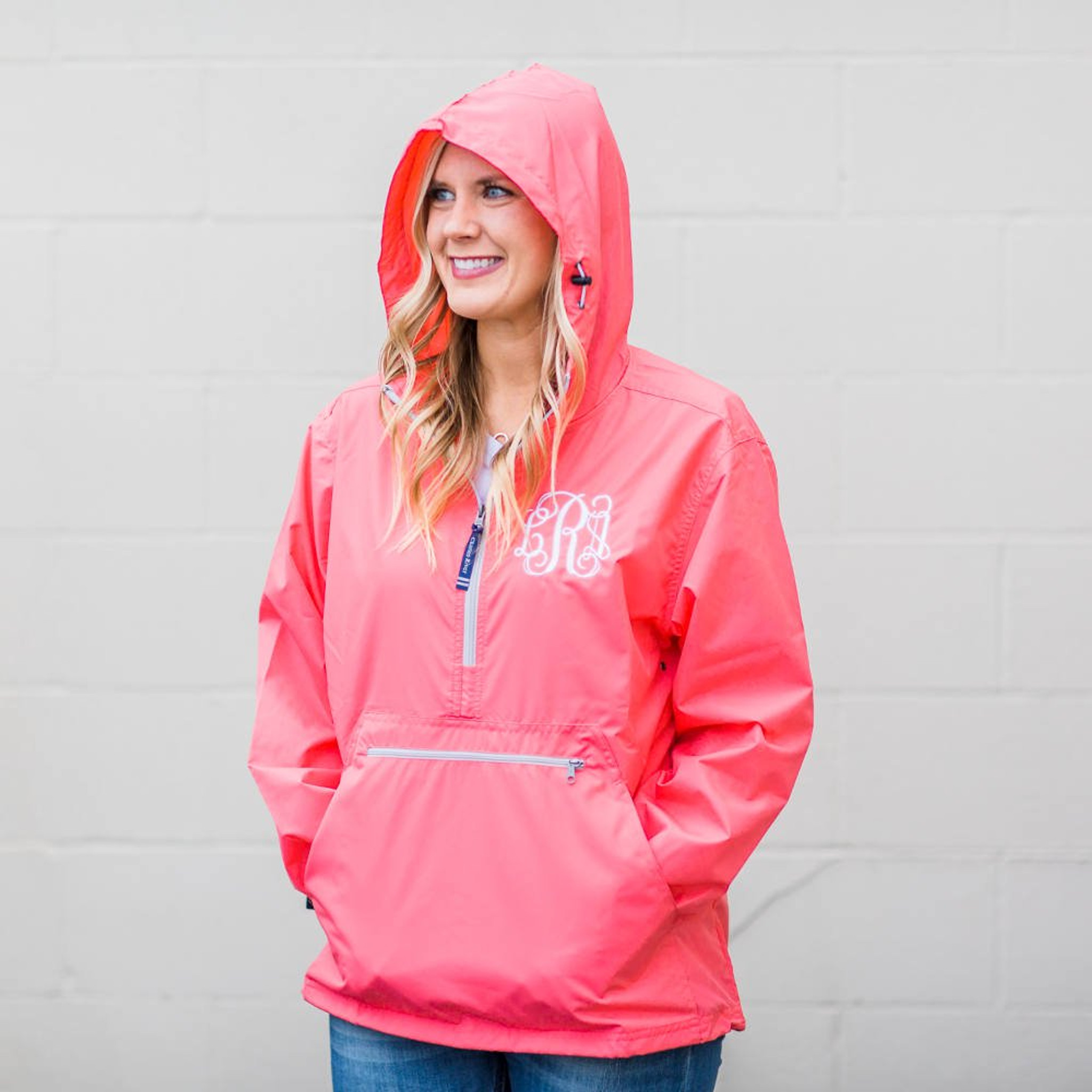 Monogrammed Pullover Rain Jacket - Coral