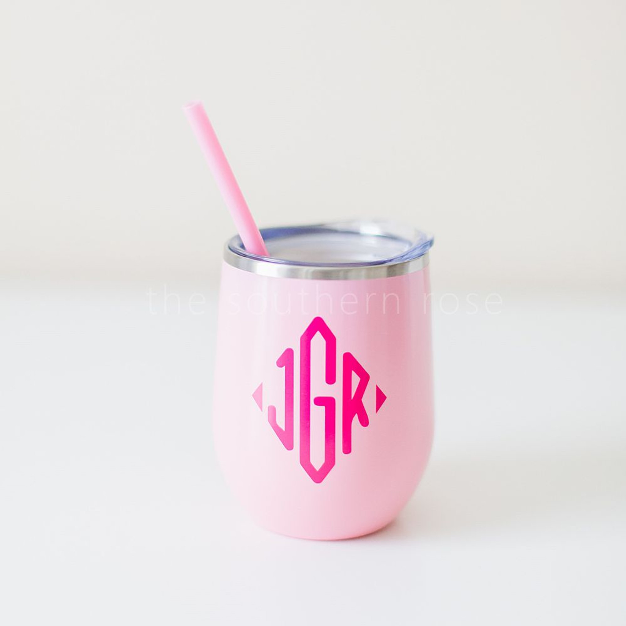 Monogrammed Steel Wine Tumbler - Light Pink