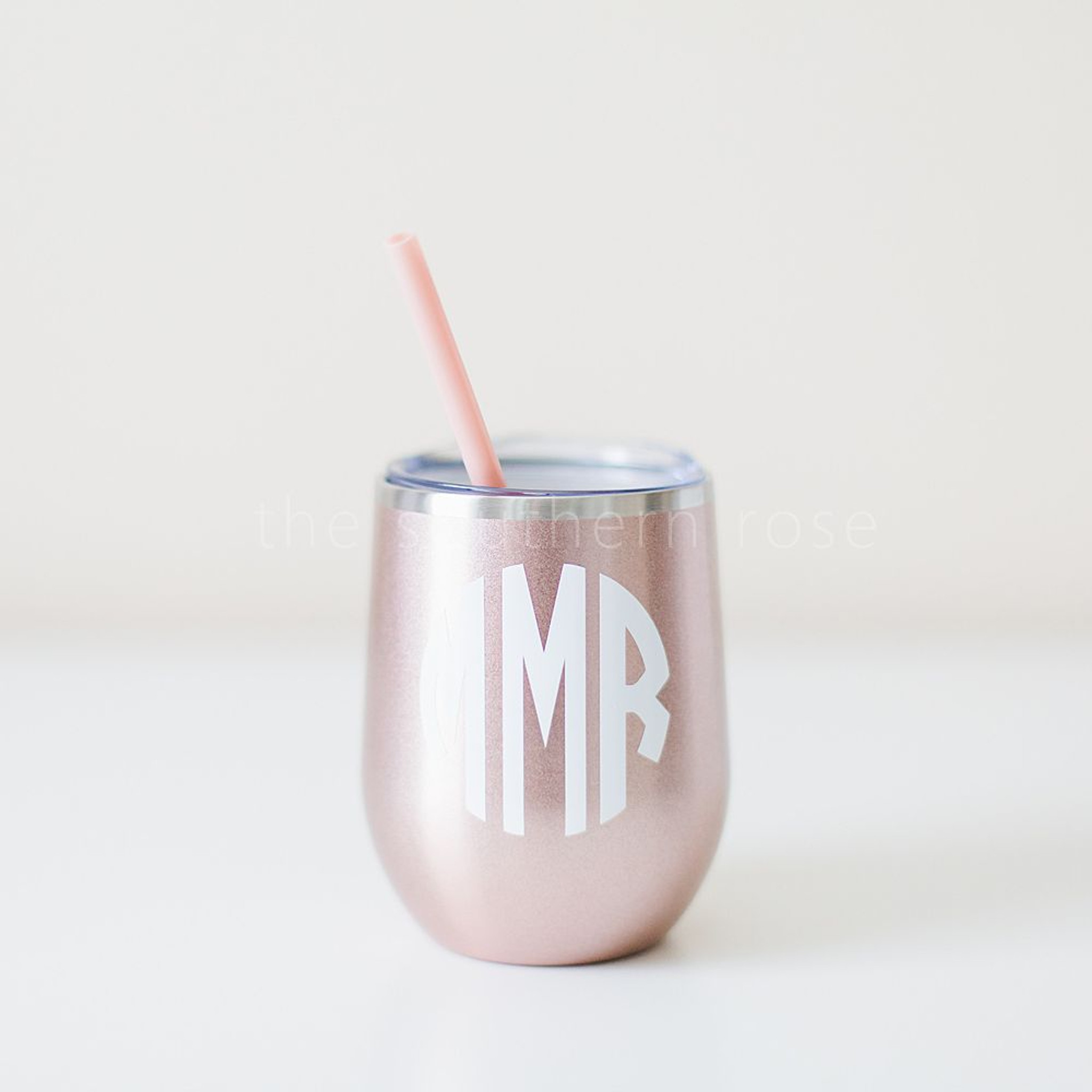 Monogrammed Steel Wine Tumbler - Rose Gold