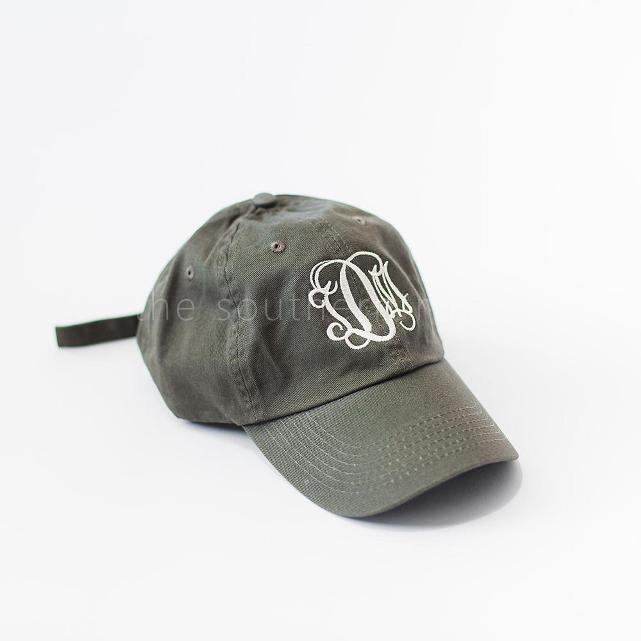 Olive Green Monogrammed Hat