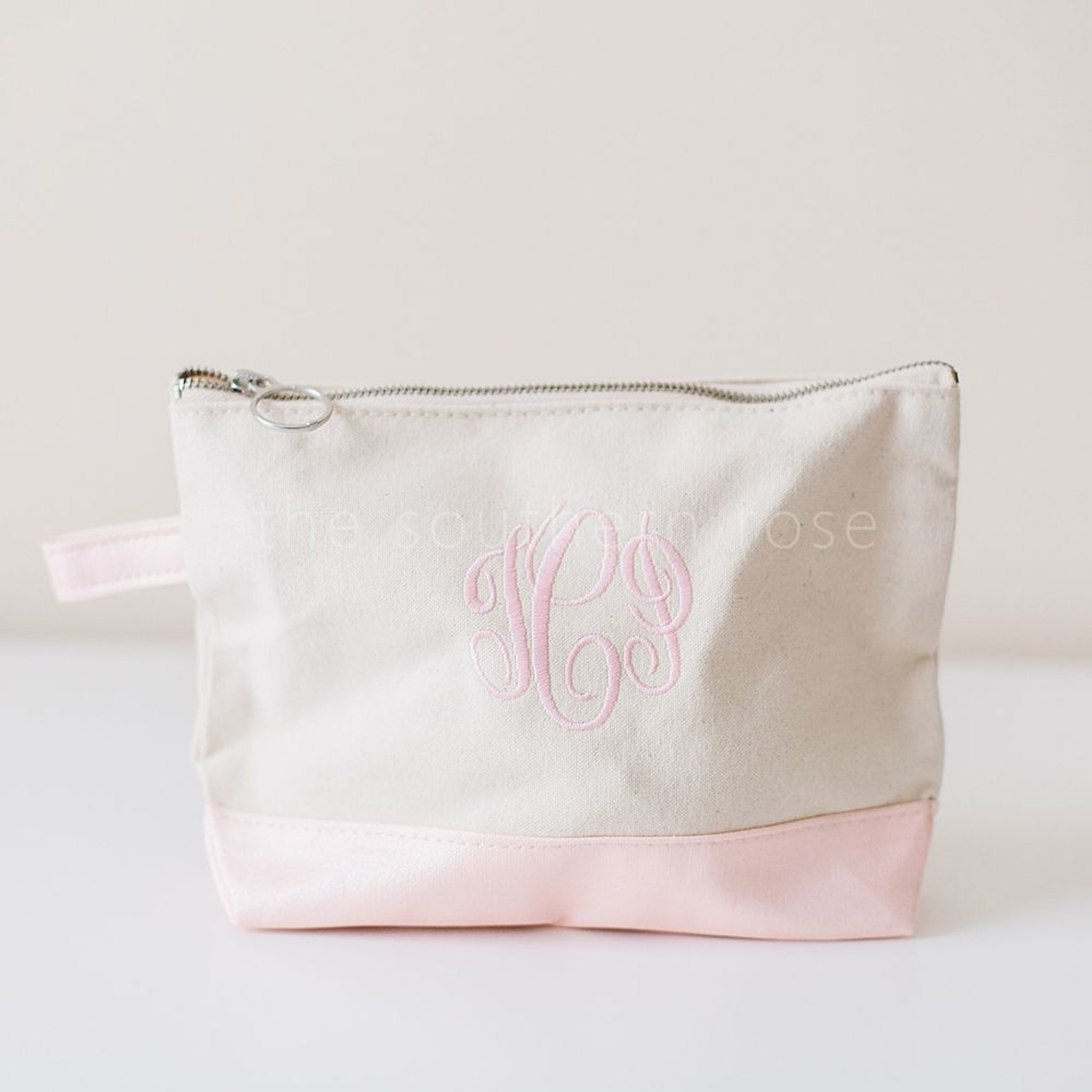 Personalized Cosmetic Bag - Metallic Pink