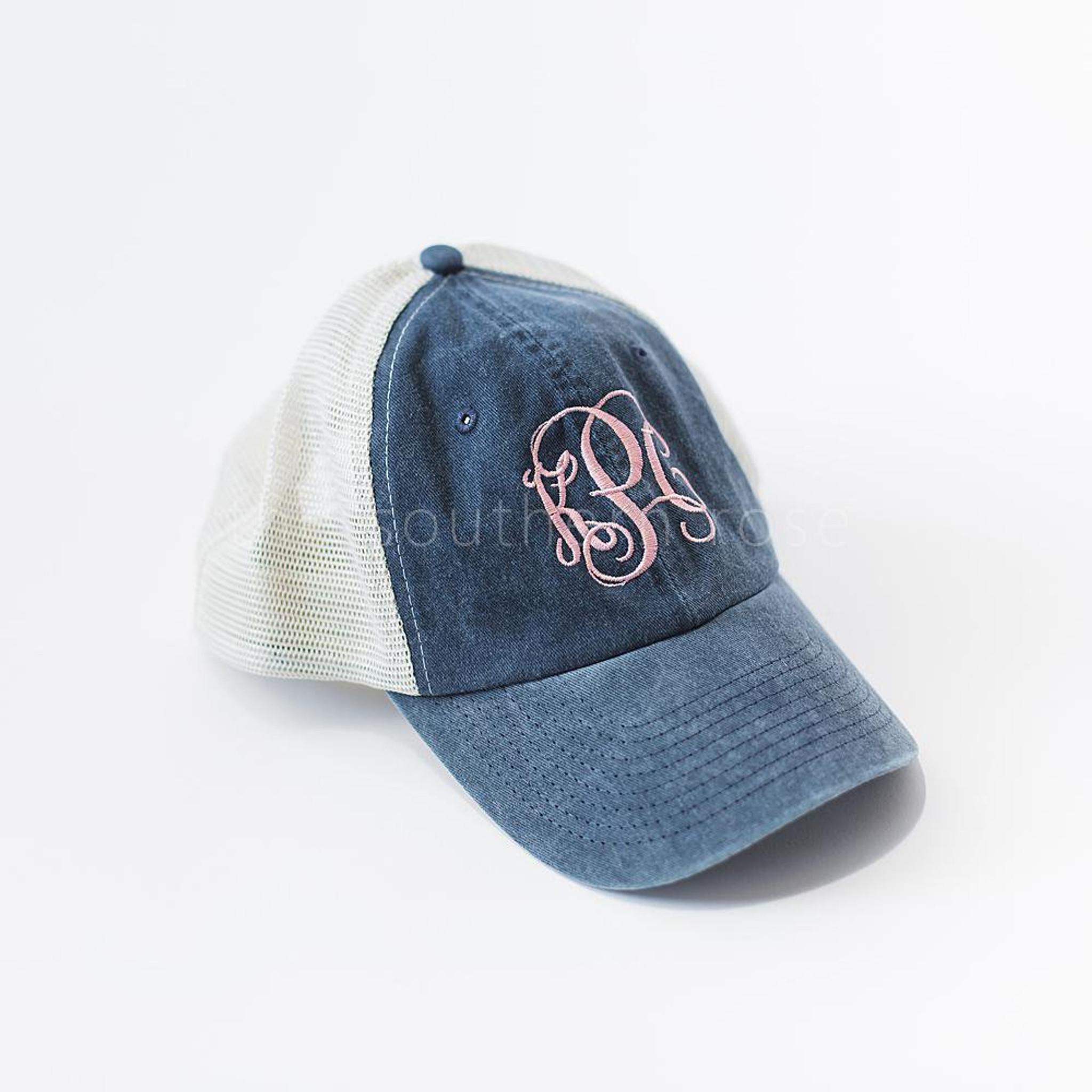 Monogrammed Trucker Hat - Navy