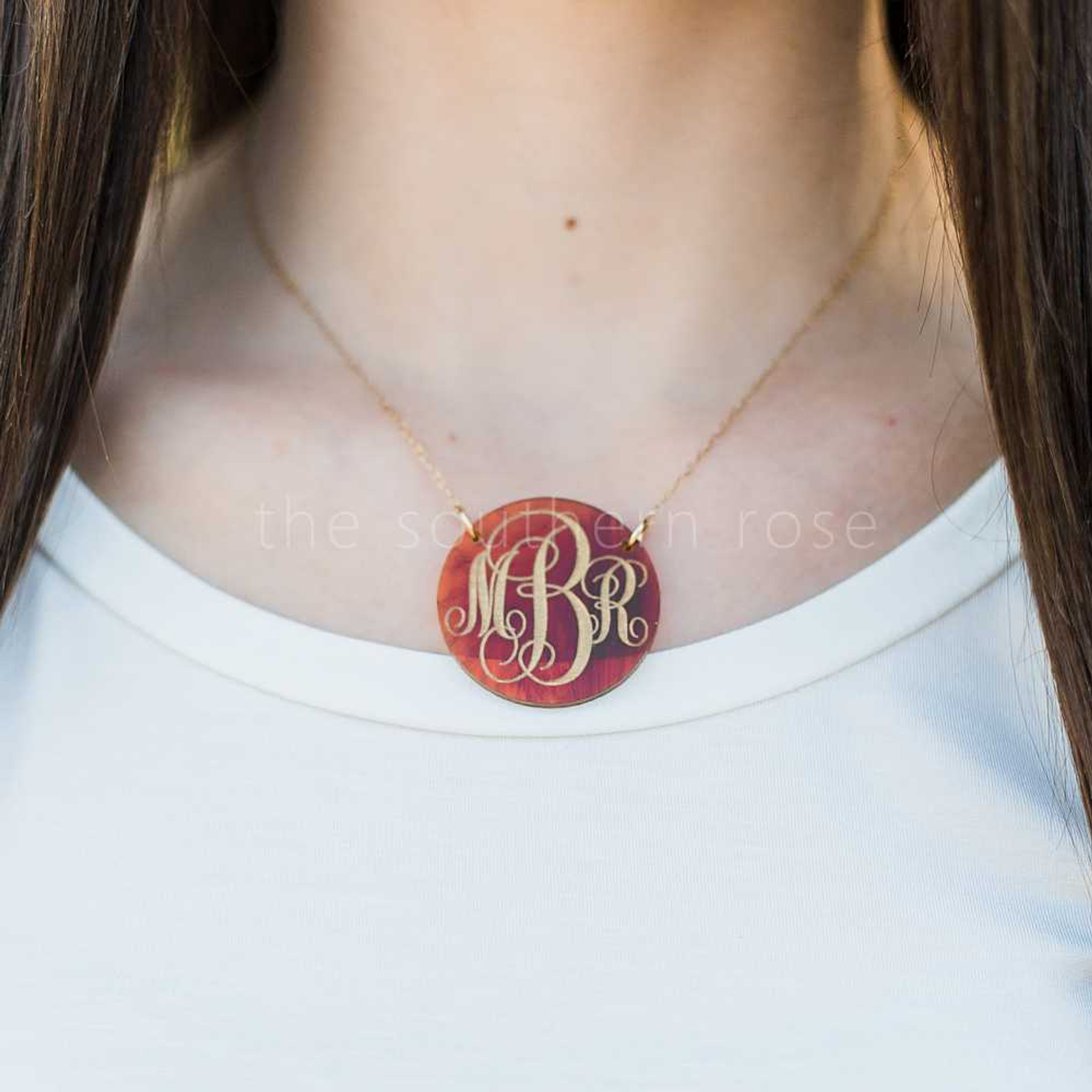 Monogrammed Acrylic Pendant Necklace