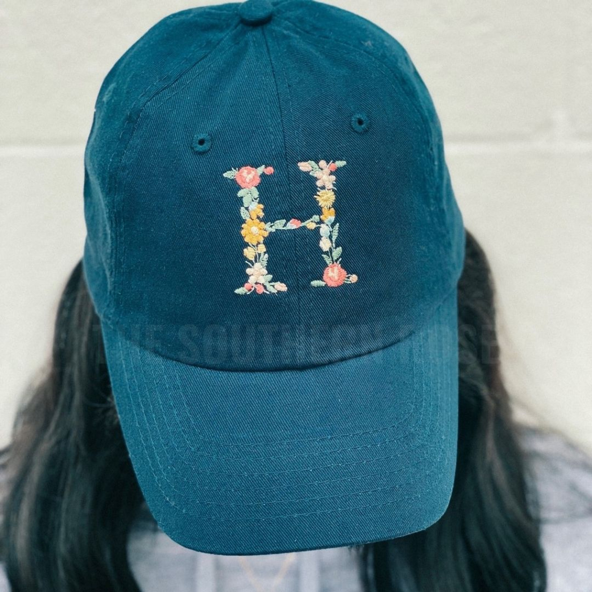 Navy Floral Initial Hat