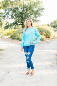 Comfort Colors Long Sleeve - Bright Blue