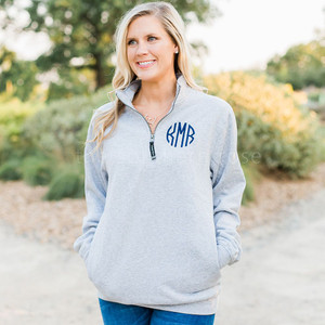 Quarter Zip Sweatshirt - Heather Grey
