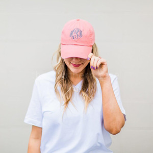 Monogrammed Baseball Hat - Coral