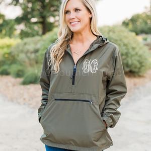 Monogrammed Pullover Rain Jacket - Olive Green