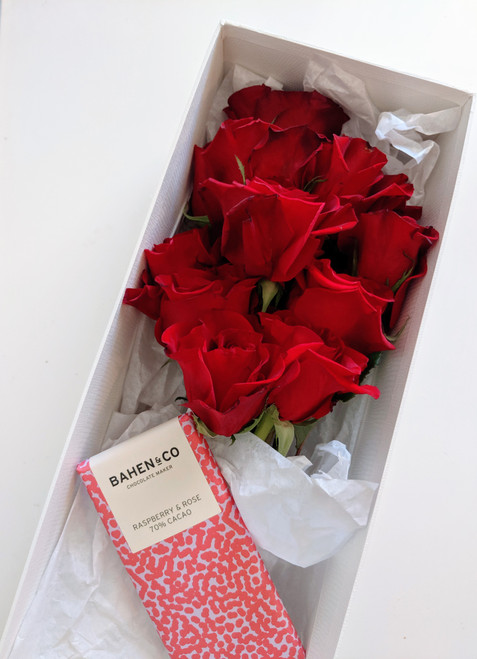 Long Stem Roses and Bahen & Co Chocolate in Presentation Box
