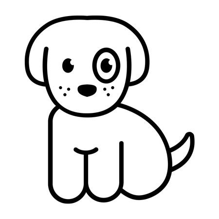 a drawing of a puppy with a circle aroumd it's eye