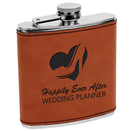 6oz stainless steel flask set laser etched flask set Stainless Steel Flask Set in BlackSilver Laserable Leatherette Box Wedding gift