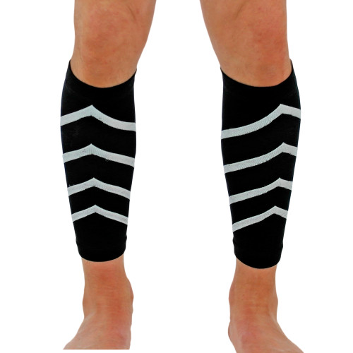 Pair of Elastic Compression Calf Sleeves   Great For Running, Shin Splints and Muscle Injury Prevention