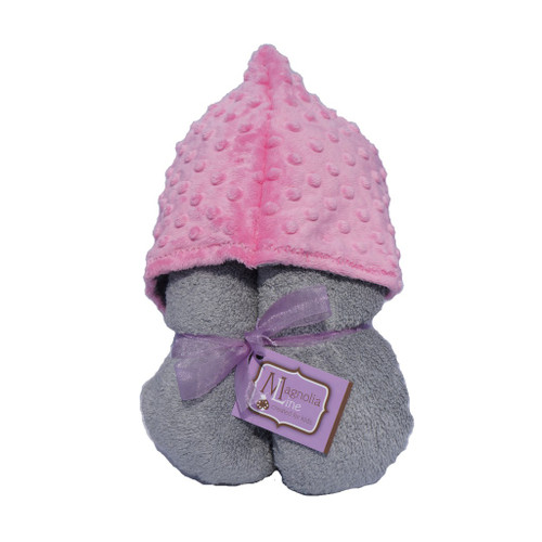 Grey Pink Minky Dot Hooded Towel
