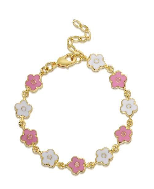 Lily Nily Flower Link Bracelet - Pink & White
