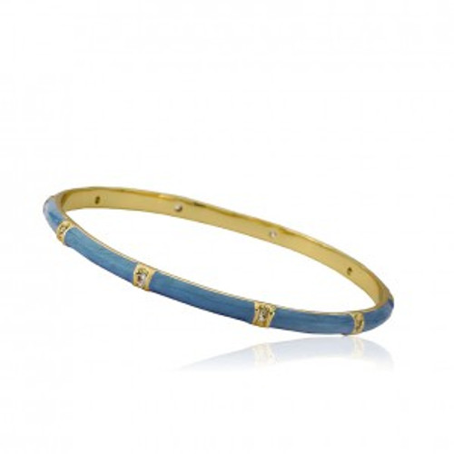 Twin Star Enamel Bangle with CZ - Denim Blue