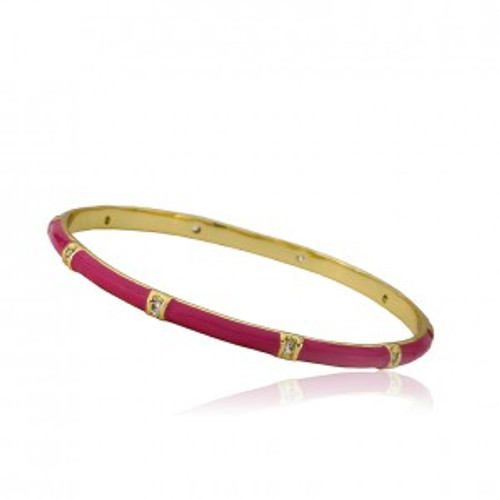 Twin Star Enamel Bangle with CZ - Dark Pink