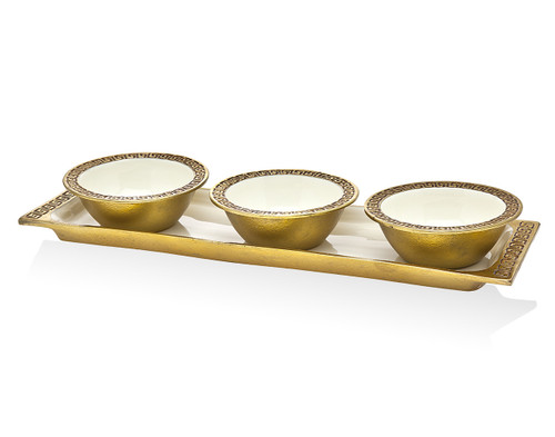 Godinger Greek Key 3 Relish Server