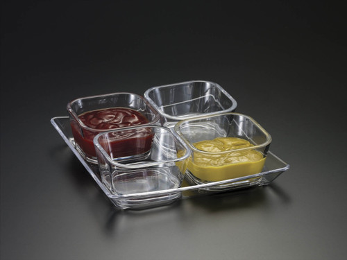 Acrylic 4 Pc. Square Bowl w/ Tray and Spoon Set