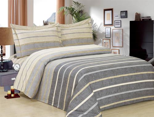 French Grey Stripe Linen Set
