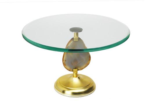 Glass Cake Stand w/ Agate Stone Stem (ASC688)