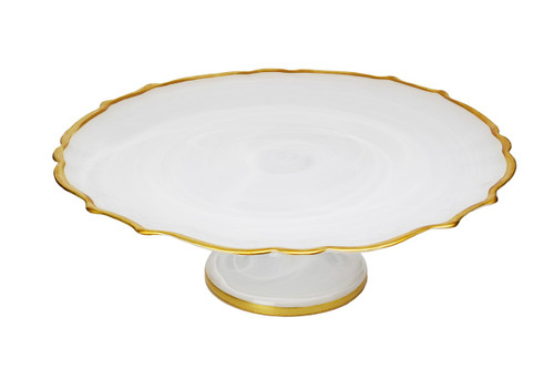 White Alabaster Cake stand with Gold Trim (CCK404AW)
