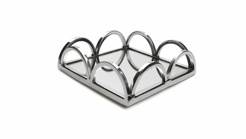 Classic Touch Square Napkin Holder/ Mirror Tray with Loop Design