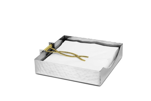 Classic Touch Square Napkin Holder with Gold Tongue