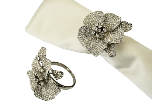 Classic Touch Jeweled Flower Napkin Rings Silver (Set of 4)