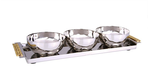 Classic Touch 3 Bowl Relish Dish W Rectangle Tray And Mosaic Handles