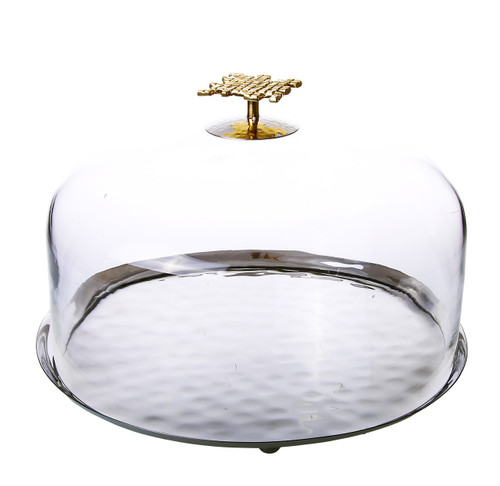 Classic Touch Glass Cake Dome With Mosaic Handle