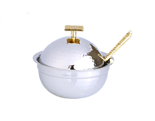 Honey Dish With Mosaic Handle - Stainless Steel